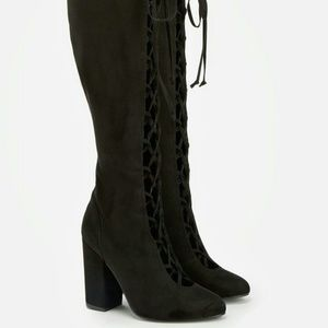 Knee High Black Boots w/ Lace Up front